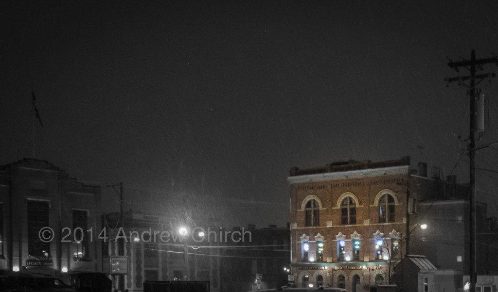 A warm pub on a cold night